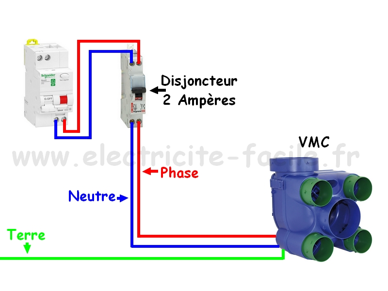 branchement VMC simple flux